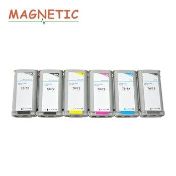 цена на 6pcs Magnetic Compatible Ink Cartridge for HP70 for HP72 70 72 For HP Designjet T610 T770 T1100 T1120 T1200 T1300 T2300 Printer