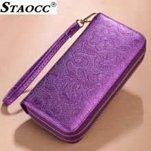 2018 Women Wallet Floral Double Zipper Female Purse Large Capacity Money Bag Long Clutch Purse Card Holder Checkbook Phone Purse difenise 100% cowhide women clutch purses long european simple large capacity brand zipper purse hasp money bag credit card