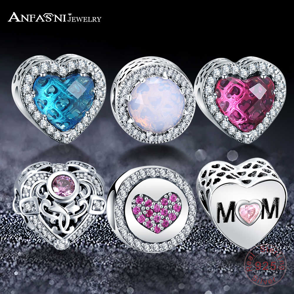 ANFASNI Real 925 Sterling Silver Vintage Sparkly Charms Bead Fit Original Pandora Bead Bracelet& Bangles Jewelry DIY Accessories