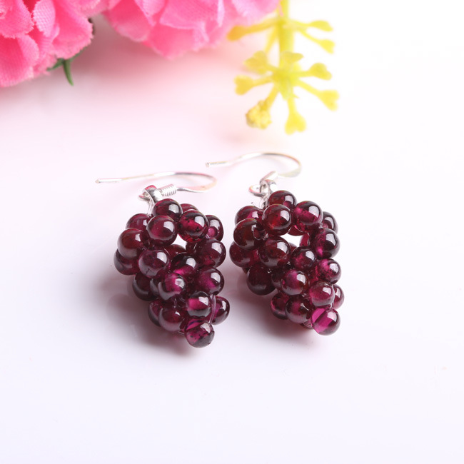Earrings Jewelry Garnet-Grape Crystal 925-Silver Natural Fashion Ear-Hook Female title=