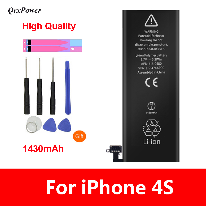 QrxPower High Quality Replacement Li-ion <font><b>Battery</b></font> Real Capacity 1430mAh With Tools for <font><b>iphone</b></font> <font><b>4s</b></font> 0 Cycle 1 year warranty image