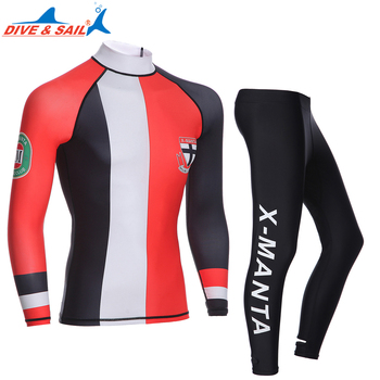 DIE&SAIL 2 Piece Men Rash Guard and Pants Swimwear Long Sleeve Multi-functional Recreation Clothes  Sunscreen snorkeling