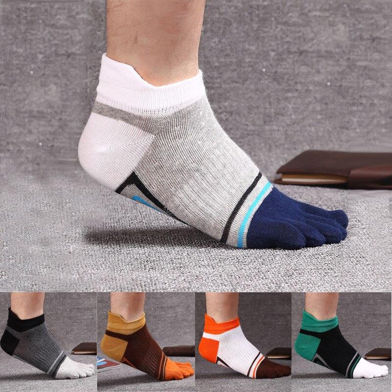 10pcs = 5 Pairs Men Socks Fashion New Cotton Five Fingers Toe Socks Color Mosaic Deodorant Business Casual Europe Wild Socks