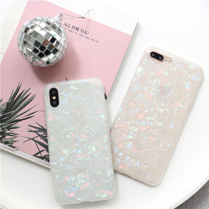 HTB1WvZmdRjTBKNjSZFwq6AG4XXaR - USLION Glitter Phone Case For iPhone 7 8 Plus Dream Shell Pattern Cases For iPhone XR XS Max 7 6 6S Plus Soft TPU Silicone Cover