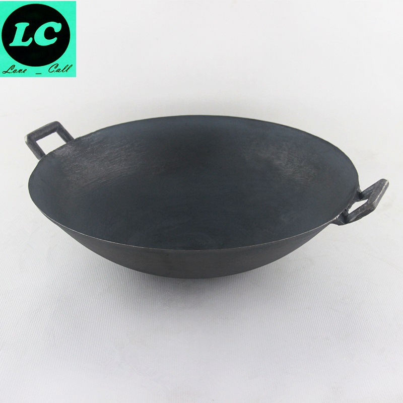 FREE SHIPPING CAST IRON <font><b>WOK</b></font> COOKING POT NO COATING NON-STICK CLASSICAL CAMPING OUTDOOR USE