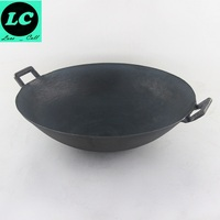 FREE SHIPPING CAST IRON WOK COOKING POT NO COATING NON STICK CLASSICAL CAMPING OUTDOOR USE