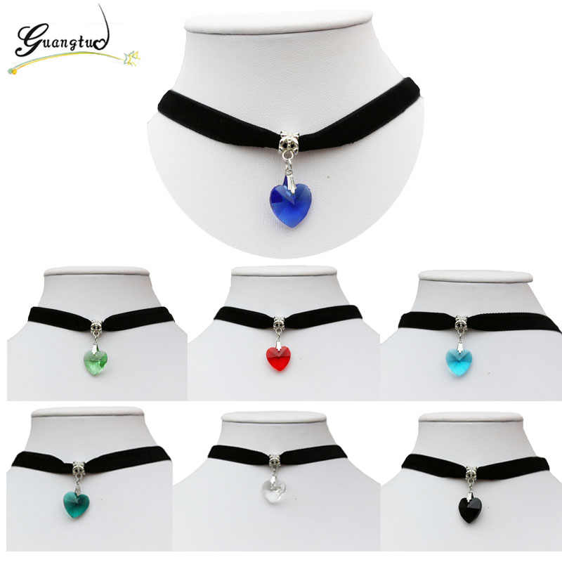 1PCS Love Heart Glass Pendant Woman Girl Jewelry Fashion Necklaces Gothic Terylene Choker Necklace Seven Colors