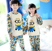 V TREE minions 2016 6Y 12Y warm children pajama sets winter sleepwear for boys girls thicken