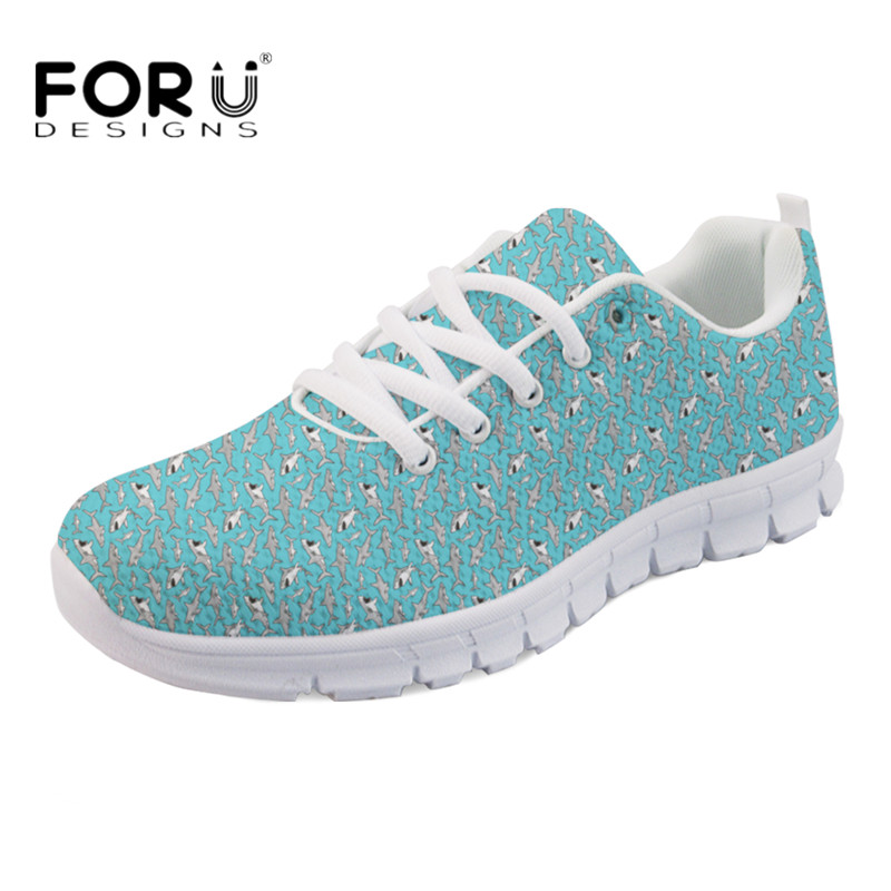 FORUDESIGNS Cute Animal Shark Printing Women Light Mesh Flats Female Casual Lace-up Sneakers Breathable Zapatos Green Flat Shoes instantarts cute cartoon pediatrics doctor print summer mesh sneakers women casual flats super light walking female flat shoes