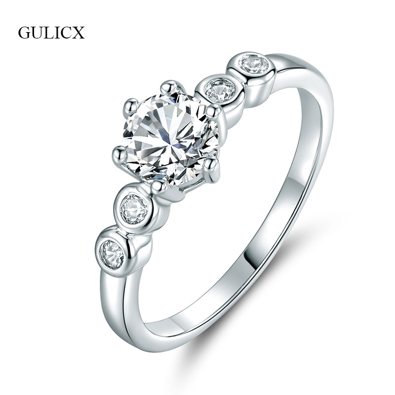 Gulicx Fashion Finger Rings For Women Silver Color Cubic Zirconia