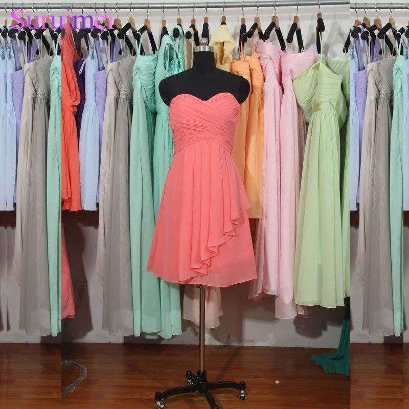 Coral   Bridesmaid     Dress   A-line Sweetheart Short Chiffon   Bridesmaid     Dress   Cheap