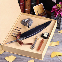 Customize Gift Box Vintage Harry Potter Metal Curved Natural Turkey Feather Pen Set With 5 Nibs