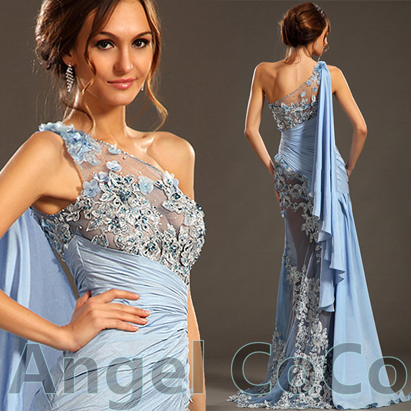 Luxury Arabia Greek Goddess Evening Dress Shoulder
