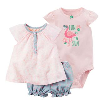 Baby girl clothes set summer 2019 outfit floral red romper+bodysuit+shorts COTTON newborn bebes clothing babies suit new born 1