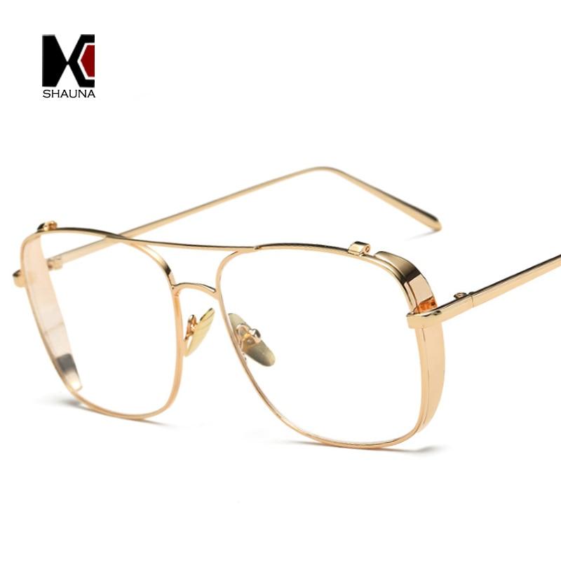 ddbd09c6804 SHAUNA Retro 3 Colors Women Punk Plain Glasses Frame Brand Designer Fashion  Men Square Metal Frame