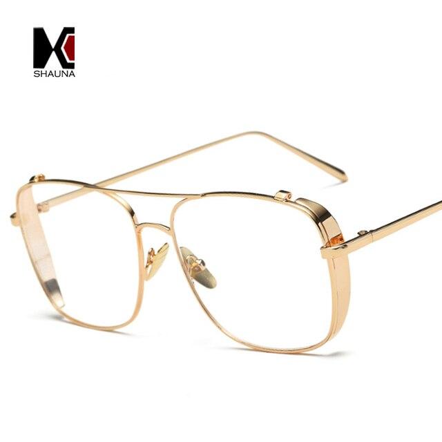 23d56620c7e SHAUNA Retro 3 Colors Women Punk Plain Glasses Frame Brand Designer Fashion Men  Square Metal Frame