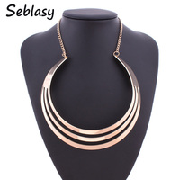 Seblasy Fashion Jewelry Shiny Crescent Hollow Smooth Metal Gold Color Chain Torques Collar Necklaces & Pendants For Women Party