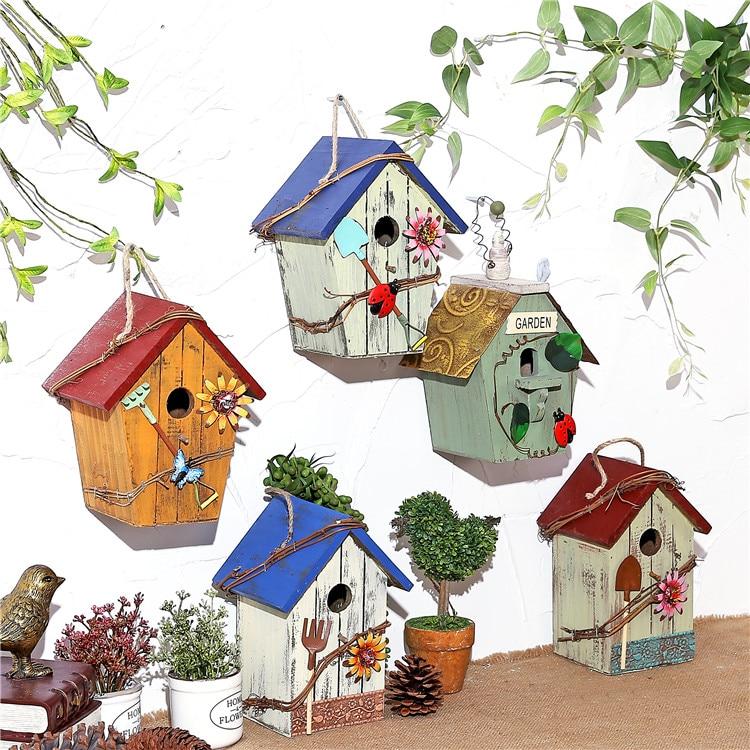 handmade wooden birdcage outdoor and retro gardening birdnest decorations small wooden house vintage garden ornaments
