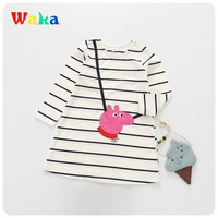 New Girls Dress Casual Cotton Kids Dress Striped O Neck Dresses For Girls Pig Printed Kids