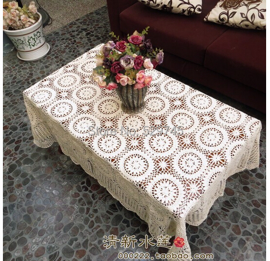 Buy christmas decorations handmade crochet flowers woven cotton lace tablecloth Coffee table tablecloth
