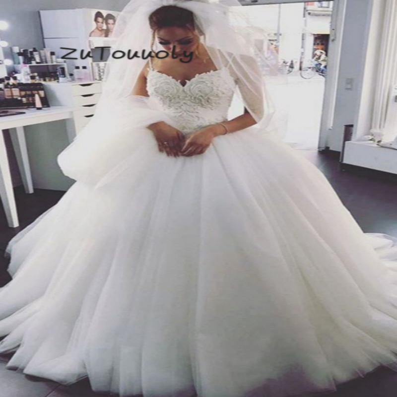 Sexy White Backless Wedding Dresses A Line Spaghetti Strap Floor Length Tulle Lace Up Country Garden Bridal Gowns Plus Size 2019