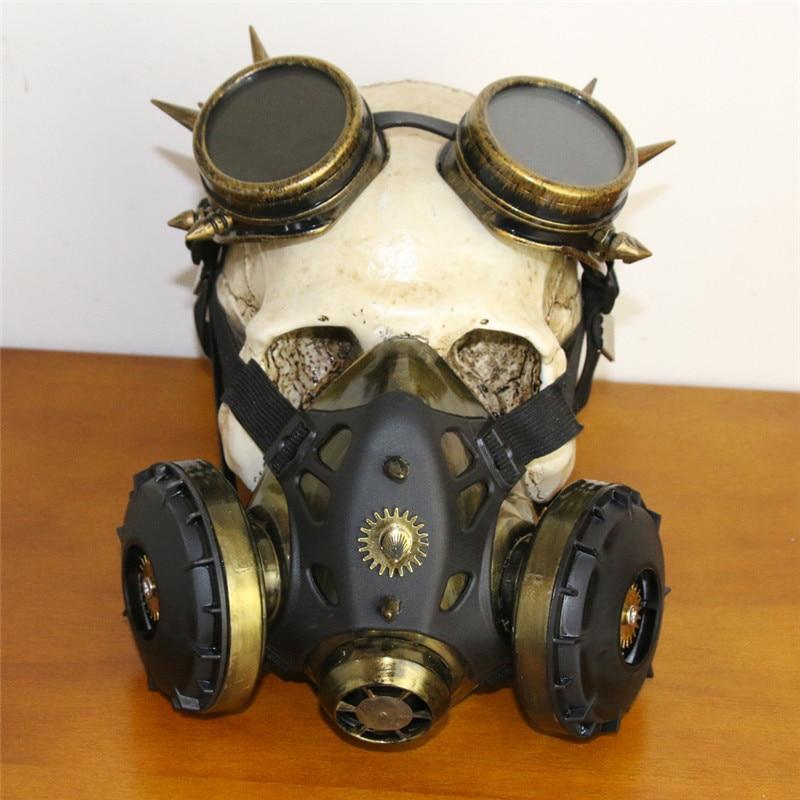 Takerlama New Gold Rivet Black Rubber Black Pipeline Steampunk Masks Cosplay Props Anti-Fog Haze Respirator Unisex Gothic Mask