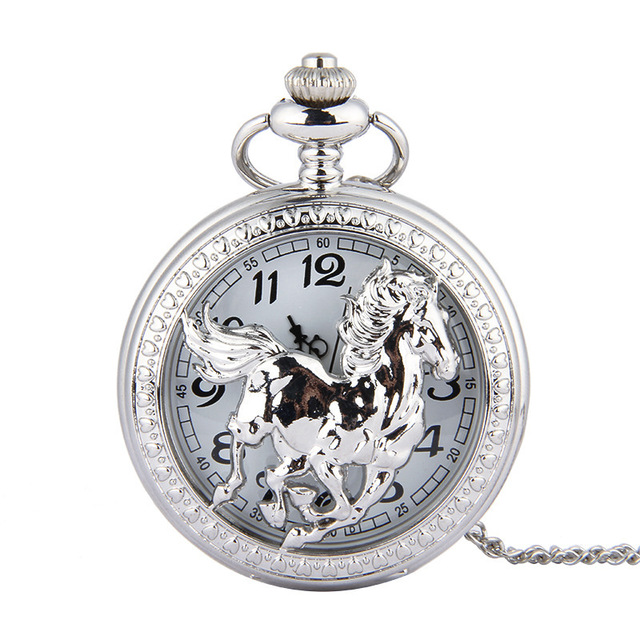 2019 Retro Classical Silver Quartz Men Pocket Watch Anime Watch Steampunk Necklace Gift Quartz Watch