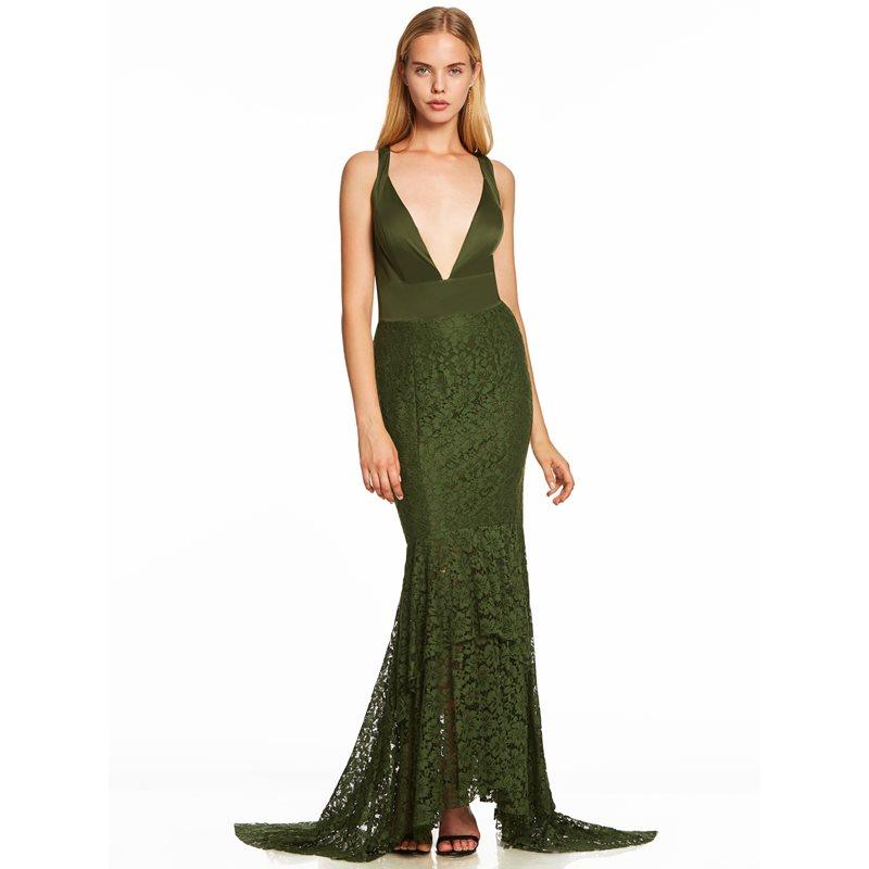Dressv dark green trumpet long   evening     dress   cheap v neck sleeveless mermaid wedding party formal   dress   lace   evening     dresses