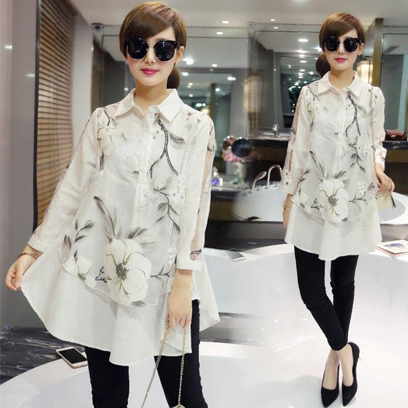 0e84ca1a8bd 2016 Весна Лето Новая Мода женщины Clothing Корейский Стиль Большой Размер  Случайные Свободные Foweral Печати Белые Рубашки С Длинным Блузка купить на