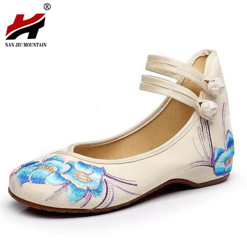 Bright Peacock Embroidery Women Shoes Old Peking Mary Jane Flat Heel Denim Flats with Soft Sole Women Dance Casual Shoes smyxhx 10046 fashion casual chinese style hibiscus flowers embroidery soft flat shoes women s old peking national cloth shoes