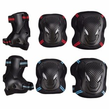 6pcs/set Kid s Roller Blading Black Wrist Elbow Knee Pads Blades Guard Size Free Shipping From US