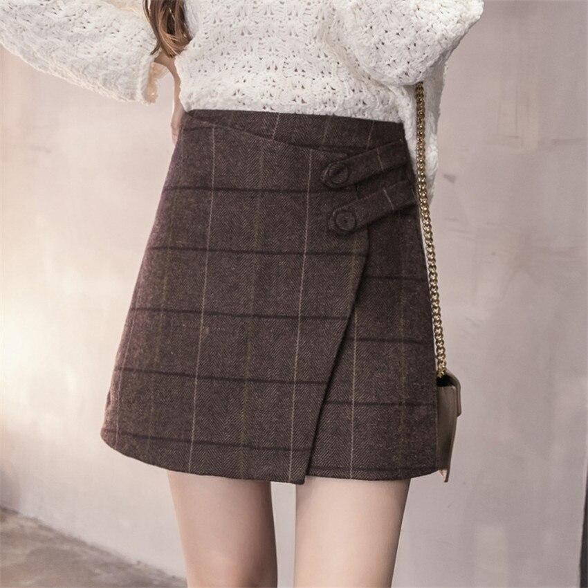 0f7bd2128 Autumn Winter Women Plaid Skirt New High Waist Woolen Skirts Sexy Slim Pack  Hip Mini Skirt Female A Line Short Skirt Saias AB627-in Skirts from Women's  ...