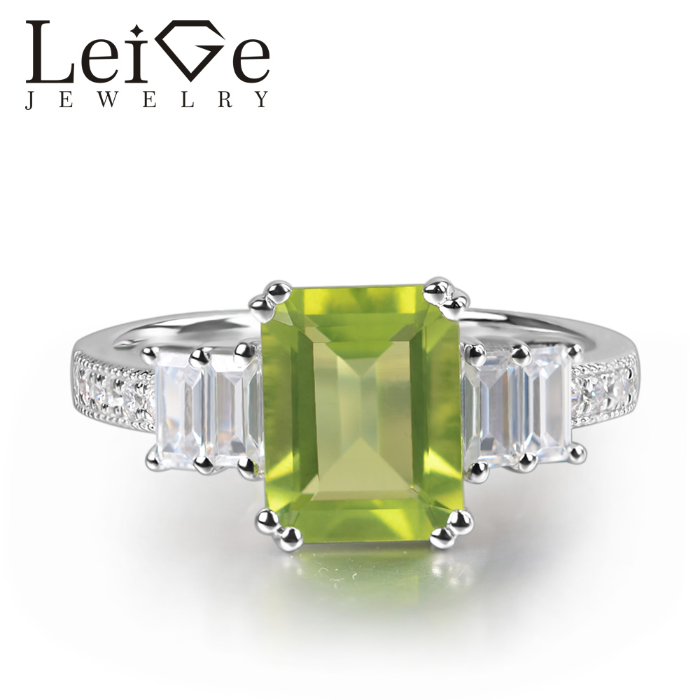 Leige Jewelry Natural Peridot Ring Emerald Cut Green Gemstone Prong Setting 925 Sterling Silver for Women