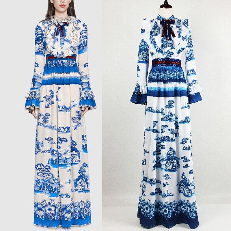 Porcelaine Arc 3xl Bleu Femmes Robes Robe Jc2535 Imprimé Ruches Paillettes Flare Manches 2018 Femelle Piste Longue Maxi Xxl wRxOYCqC