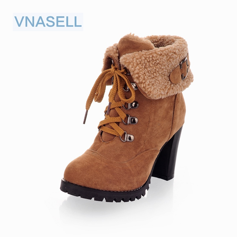 2017 new women boots high heel half short ankle boots winter martin snow botas footwear warm heels boot shoes size32 33 42 43