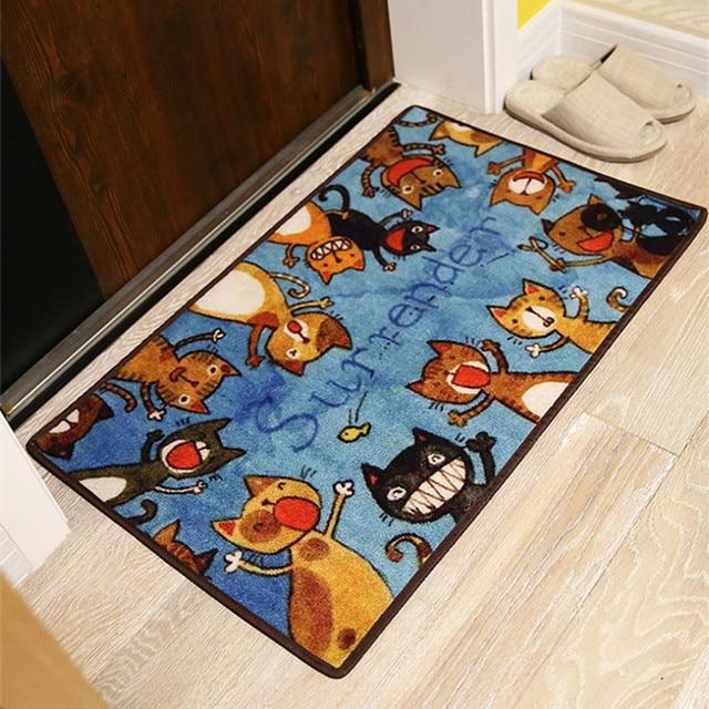 Japanische Bodenmatten stil niedliche kätzchen tür matten rutschfeste rechteck