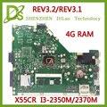 Placa Base KEFU Para ASUS X55CR X55VD 4G RAM I3-2350m/2370 M Rev3.1/rev3.2 Placa Base Original Integrada