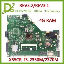 SHUOHU For ASUS X55CR X55VD motherboard  4G RAM i3-2350m/2370m rev3.1/rev3.2 100% tested integrated original  new motherboard