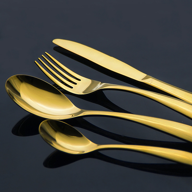 Exquisite Stainless Steel Cutlery Gold Plated Dinnerware Set Luxury Western Style Golden Fork Knife 4 Piece & Exquisite Stainless Steel Cutlery Gold Plated Dinnerware Set Luxury ...