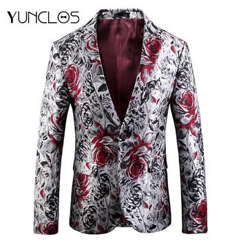 YUNCLOS 2019 Rose Jacquard Men Blazer Men Blazers
