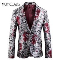 YUNCLOS 2019 Rose Jacquard Men Blazer