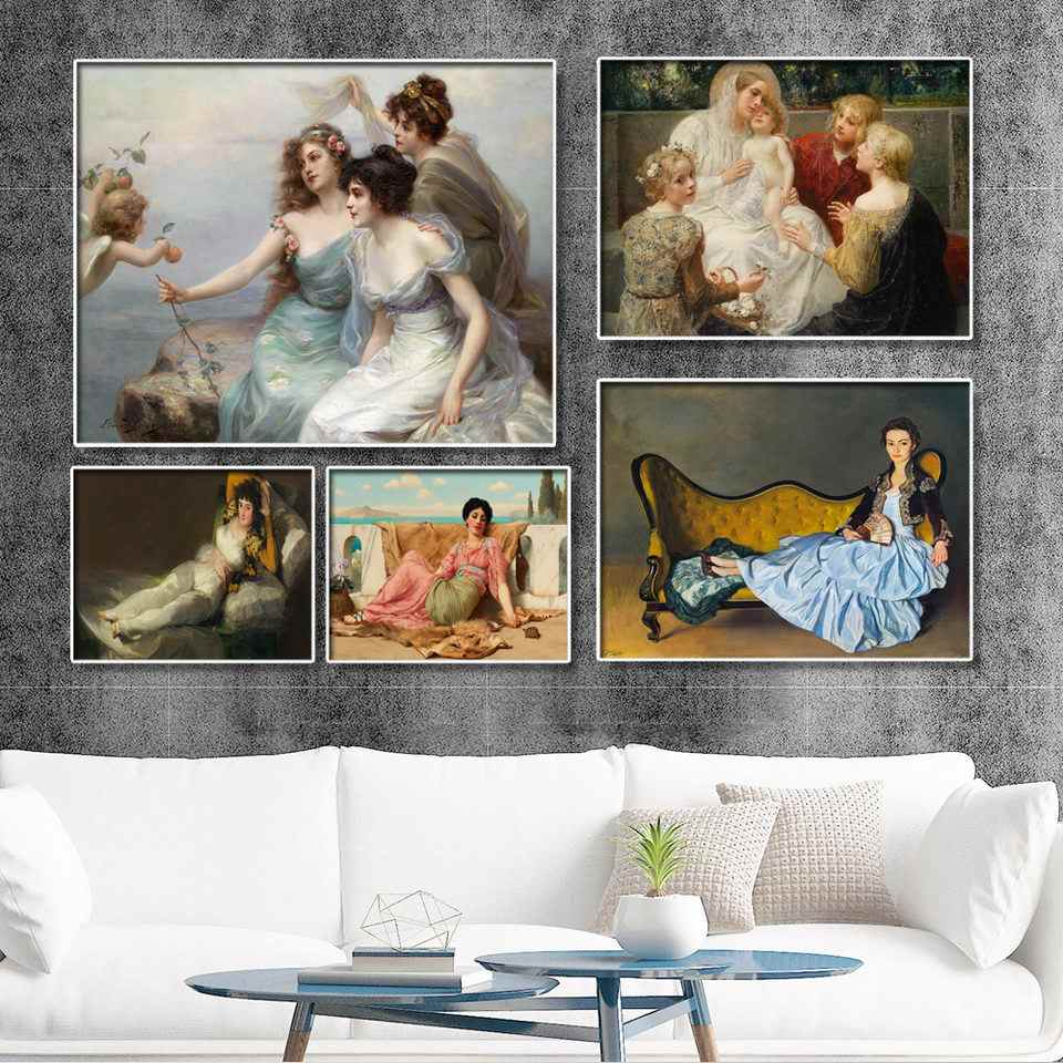 Home Decoration Print Canvas Wall Art Picture Paintings European Court character scene painting The woman on the chair