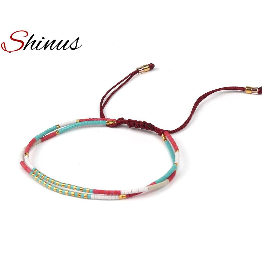 Shinus Miyuki Bracelet Women Bracelets Miyuki Seed Bead Pulseira Summer Jewelry Boho Colorful Bohemian Handmade Bileklik Woven in Strand Bracelets from Jewelry Accessories