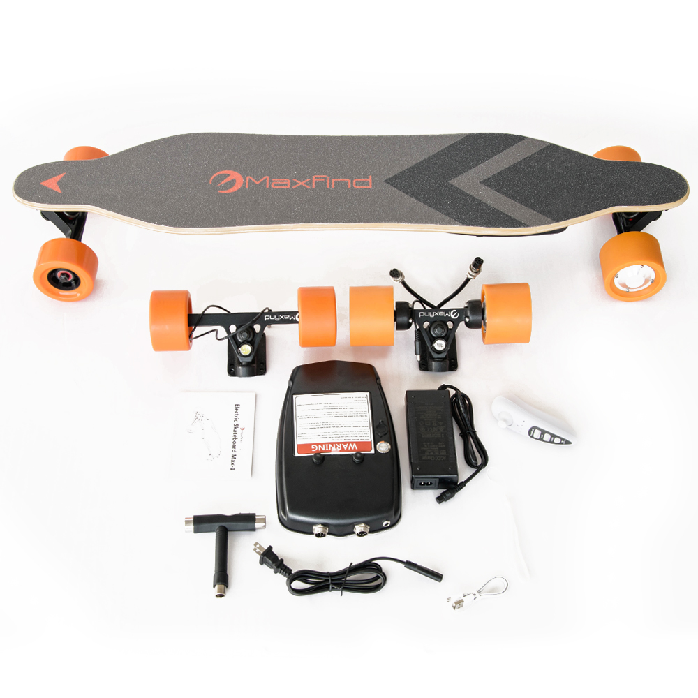 Maxfind Lightest and Portable DIY Electric Skateboard kit with dual motors 1000w swappable battery
