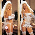 2017 sexy lingerie hot Sexy white bride wedding dress uniforms Headdress + gloves pair + skirt + thong pant erotic lingerie 177