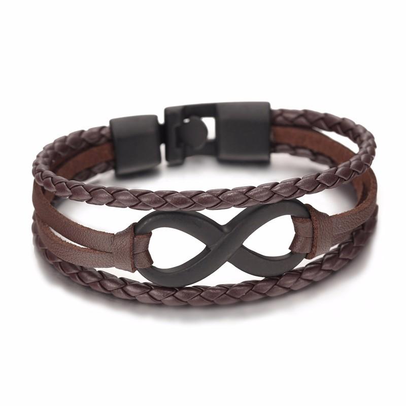 Bracelet en cuir style infinity tendance mode