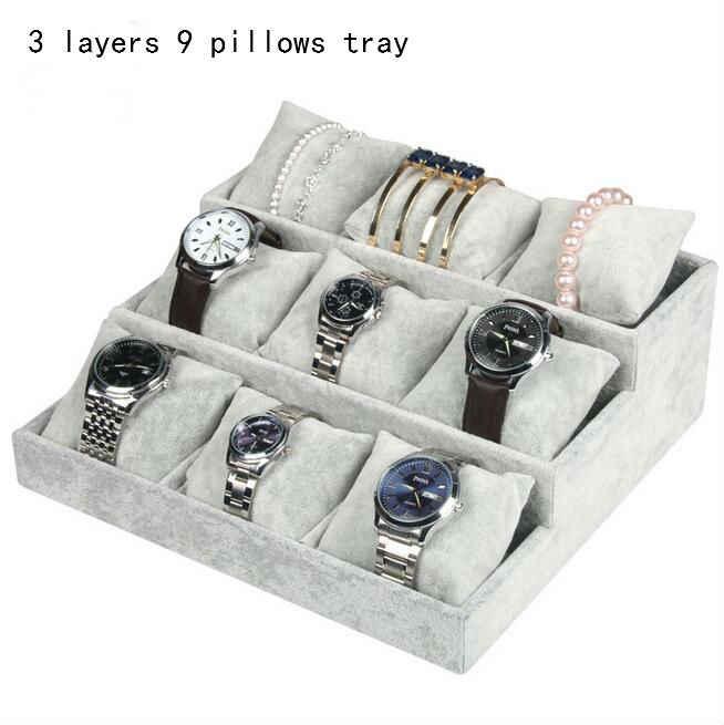 Высокое Leve серый бархат кольцо браслет ожерелье кулон, серьги с подвеской наручная цепочка шкатулка для украшений тарелка держатель дисплей