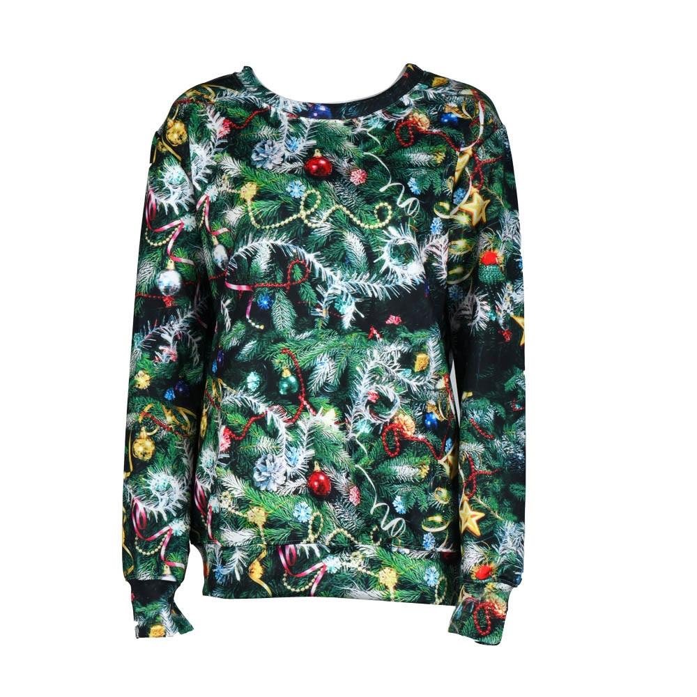 Fashion Women Autumn Fashion Women Long Sleeve Pullover Sweatshirt Christmas Tree Bells Print Shirt Tops