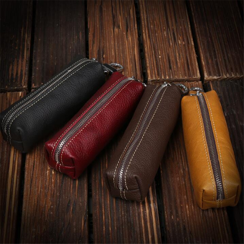 Genuine Cow Leather Men Women Key Bag Small Business Kay Case Women Housekeepers Wholesale Purse Keychain Keychain Wallet