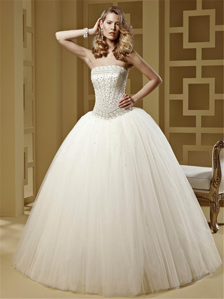 Fancy Strapless Beaded Bridal Dresses White/Ivory Ball Gown Vestido ...